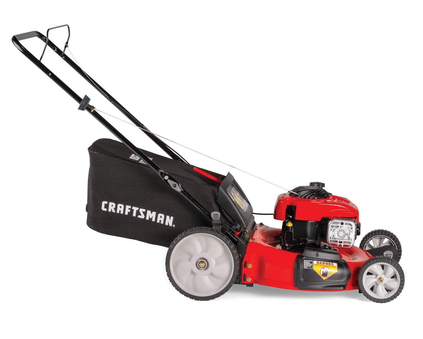 Craftsman M115 11A-B25W791 Push Lawn Mower, Red 3 140CC OHV GAS POWERED ENGINE: Powerful Briggs and Stratton 550E gas engine comes equipped with recoil and primer. 3-IN-1 CAPABILITIES: Unit has side discharge, rear discharge, and mulching capabilities. 21-INCH CUTTING DECK: Efficient cutting deck helps trim grass in one quick pass for an easier yard job.