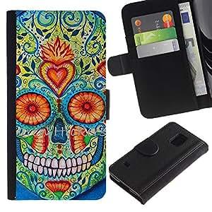KingStore / Leather Etui en cuir / Samsung Galaxy S5 V SM-G900 / Daisy Cráneo floral del corazón la muerte de Primavera
