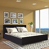HomeTown Alex Engineered Wood Box Storage Queen Size Bed in Dark Walnut Color