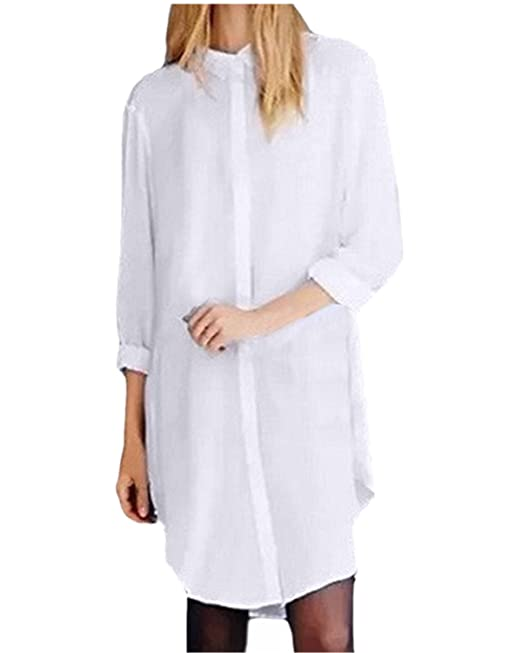 0d51433985b52b ZANZEA Women Boyfriend Style Button Down Collar Long Tops Casual Blouse T Shirt  Dress: Amazon.co.uk: Clothing