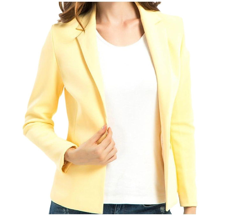 Tootless-Women Elegant Blazer Solid Colored Fold-Collar Welt Jacket