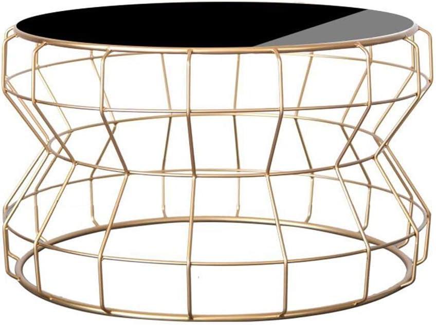 2020 Nieuwste JCNFA BIJZETTAFEL Side Table, Sofa Side Table nachtkastje Coffee Table Round smeedijzer gehard glas Living Room, 43 * 60CM (Color : Black+transparent glass) Gold+black glass ROboE6g
