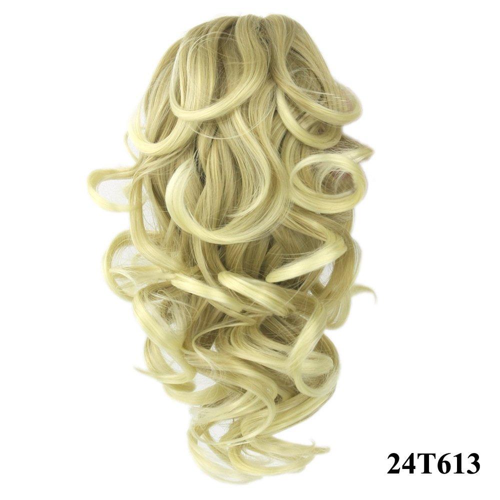 Zinsale Coda di cavallo riccia corta Estensione dei capelli Clip Resistente al calore Pezzi di capelli sintetici (1B)