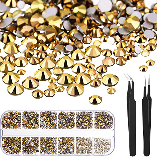 TecUnite 1728 Pieces Crystals Nail Art Rhinestones Round Beads Flatback Glass Charms Gems Stones and 2 Pieces Tweezers with Storage Organizer Box, SS3 6 10 12 16 20, 288 Pieces Each Size (Gold)