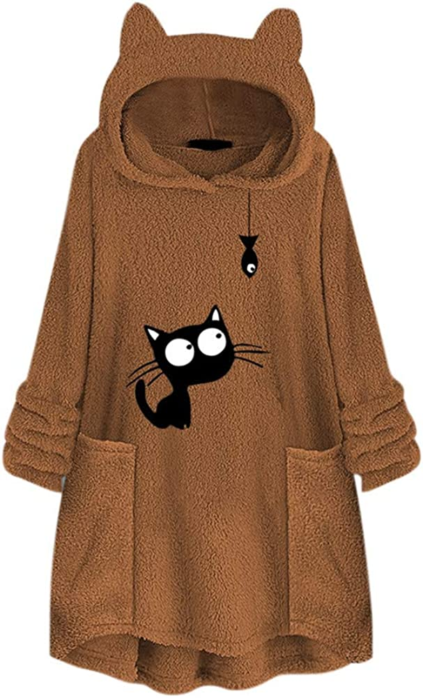 Libermall Womens Long Sleeves Sweatshirts Cartoon Cat Print Ear Fleece Pullover Sweatshirts Hoodies Coat Outwear