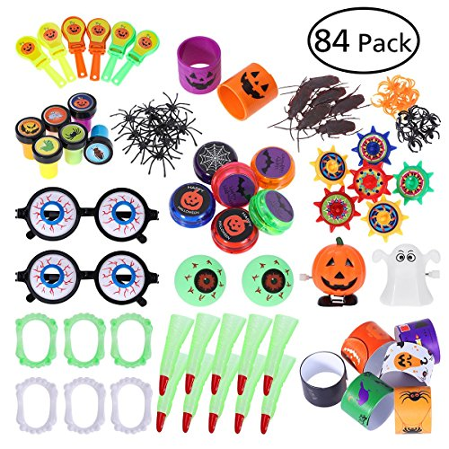 TOYMYTOY Halloween Toys and Novelty Assortment, Includes: Eye, Spiders, Scorpions, Bats, Ghosts, Pumpkins etc. Pack of 84