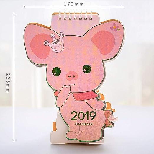 Grea Calendario 2019 Lindo Flamingo Cerdo Kawaii Mini Mesa ...