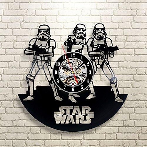[Stormtrooper Star Wars Art Vinyl Record Wall Clock Fan Gift Black Room Decor Idea] (Father Son Star Wars Costumes)