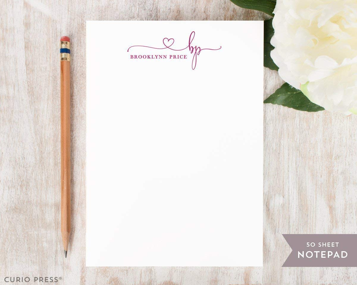 Personalized Pretty Cute Trendy Heart Stationery//Custom Printed Womens or Girls Stationary Note Pad PRECIOUS MONOGRAM NOTEPAD