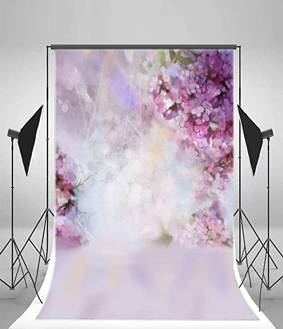 7x10 FT Grunge Vinyl Photography Backdrop,Abstract Nature Inspired Lilac Pattern Vintage Floral Design Symmetrical Symbols Background for Baby Shower Bridal Wedding Studio Photography Pictures