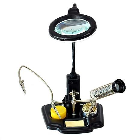 Mano soporte sujeción de placa ZD-10Y con lámpara lupa LED