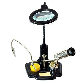 Mano soporte sujeción de placa ZD-10Y con lámpara lupa LED soporte soldador: Amazon.es: Electrónica