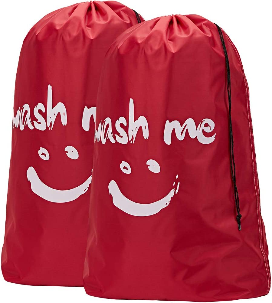 HOMEST 2 Pack XL Wash Me Travel Laundry Bag, Machine Washable Dirty Clothes Organizer, Large Enough to Hold 4 Loads of Laundry, Easy Fit a Laundry Hamper or Basket, Red