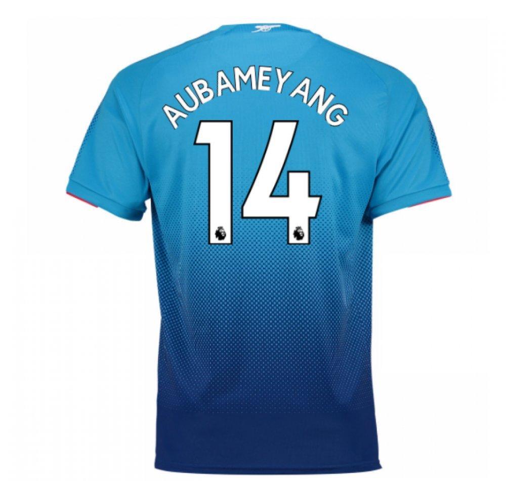 2017-2018 Arsenal Away Football Soccer T-Shirt Trikot (Pierre Emerick Aubameyang 14) - Kids