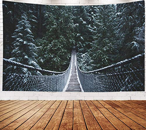 Yecationy Beach Tapestry, Tapestry Psychedelic Tapestry 80x60 Inch Bridge in The Winter Wonderland Vancouver Nature Pacific North West Snow Tapestry Wall Hanging Living Room Decoration Tapestries]()
