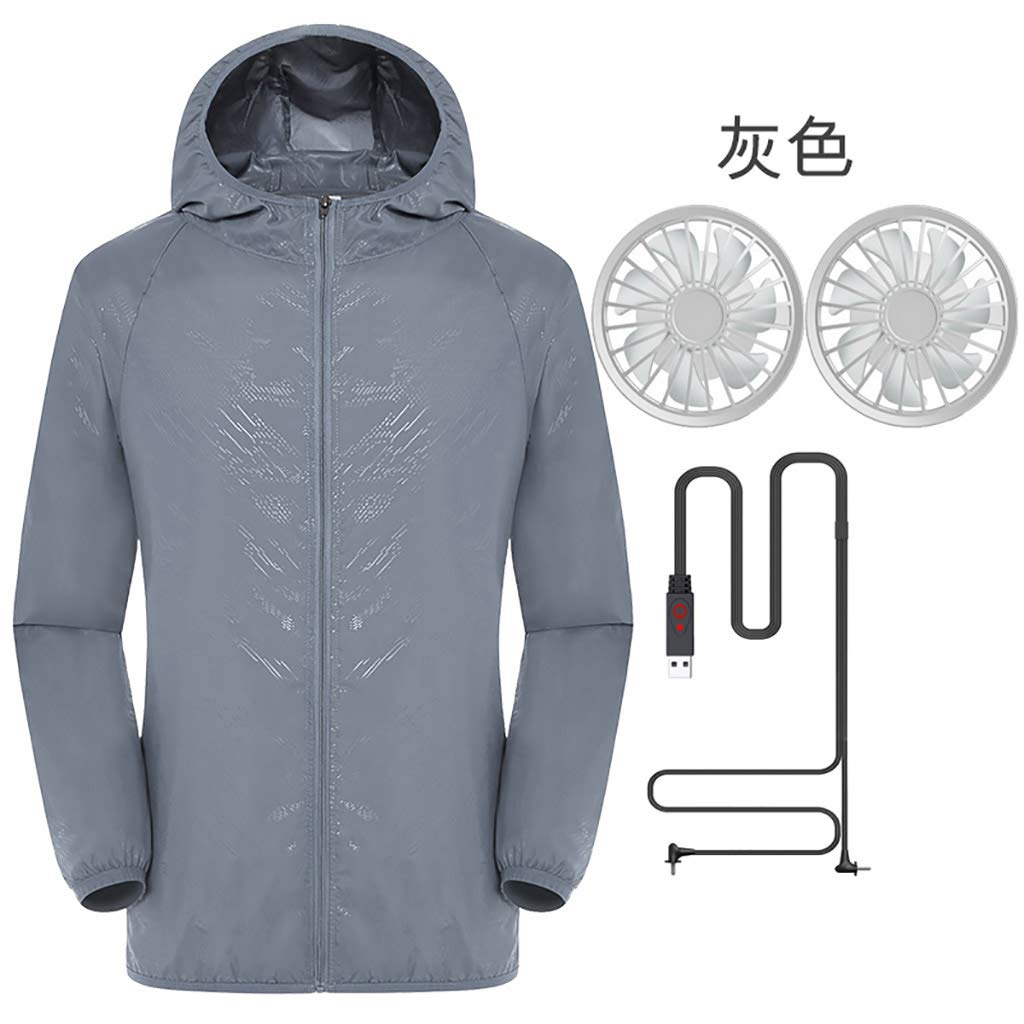 Jacket with Fans,Men's Hooded Air-Conditioned Clothes Outdoors Sports Jacket and Zipper (M, Gray)