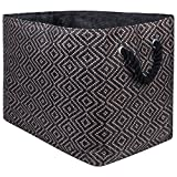 """DII Oversize Woven Paper Storage Basket or Bin, Collapsible & Convenient Home Organization Solution for Office, Bedroom, Closet, Toys, Laundry(Large - 17x12x12""""), Brown & Black Diamond Basketweave"""