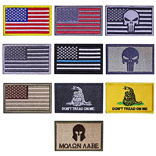 US Flag Tactical Patches?Danlince10 Pieces American Flag USA Flags Punisher Patches US Flag Patch Dont Tread On Me Molon Labe Patch Outdoor Activitity Military Morale Patch Set
