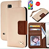 Galaxy S5 Case,By HiLDA,Wallet Case,PU Leather Case,Credit Card Holder,Flip Cover Skin,Galaxy SV I9600[Brown]