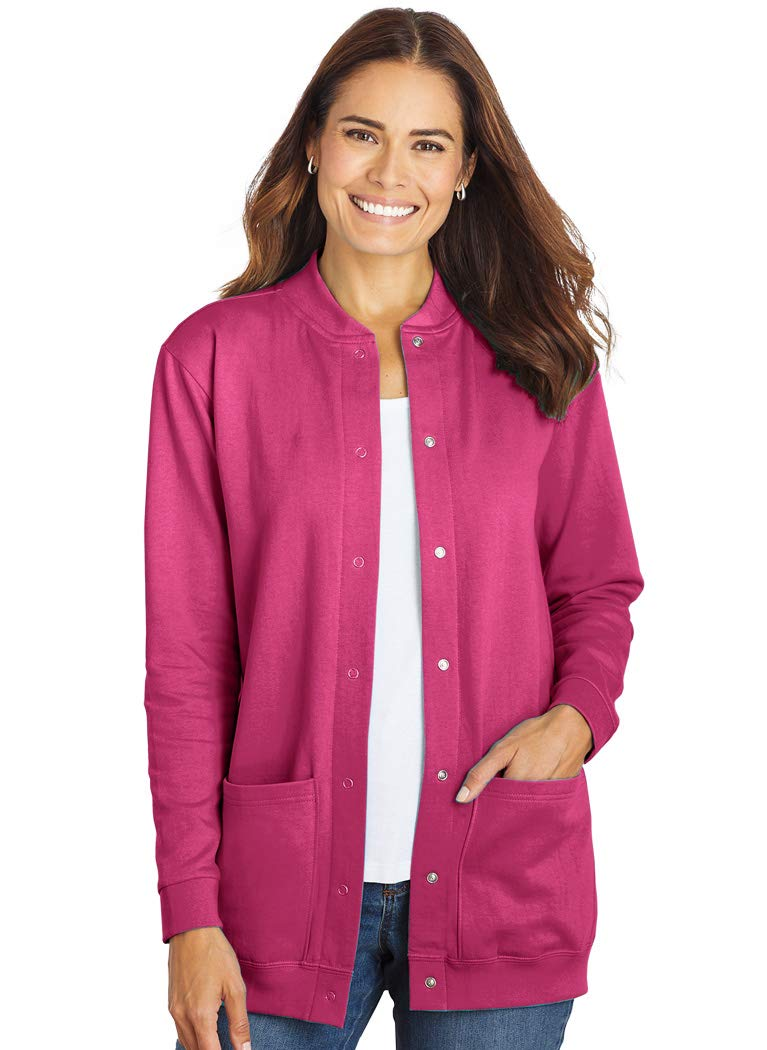 AmeriMark Womens Fleece Cardigan Sweater Jacket Snap Buttons Two Patch Pockets Boysenberry 3X by AmeriMark