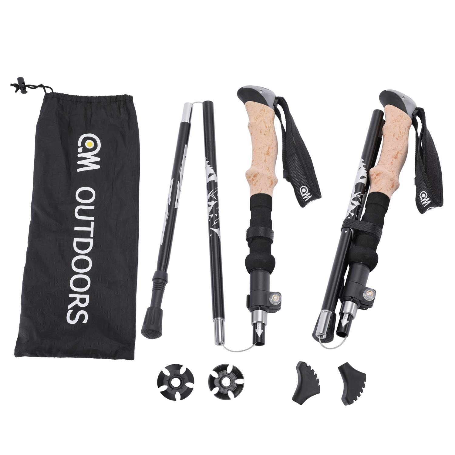 QM OUTDOORS Walking Stick,Fit Men and Women Whose Height Between 5' 1'' to 6' 3'', One Pair Lightweight Potable Collapsible Stick for Hiking, Mountaineering & Camping - (Black) by QM OUTDOORS