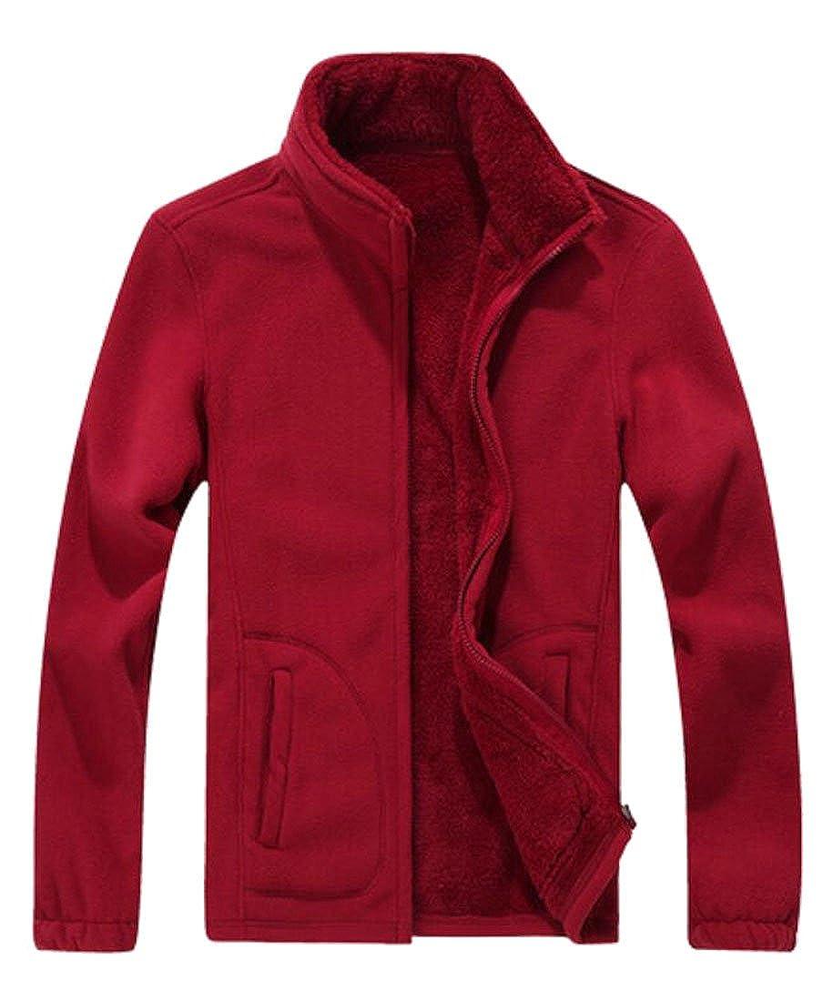 KLJR-Men Winter Warm Lined Fleece Slim Thick Sweatshirt Jacket