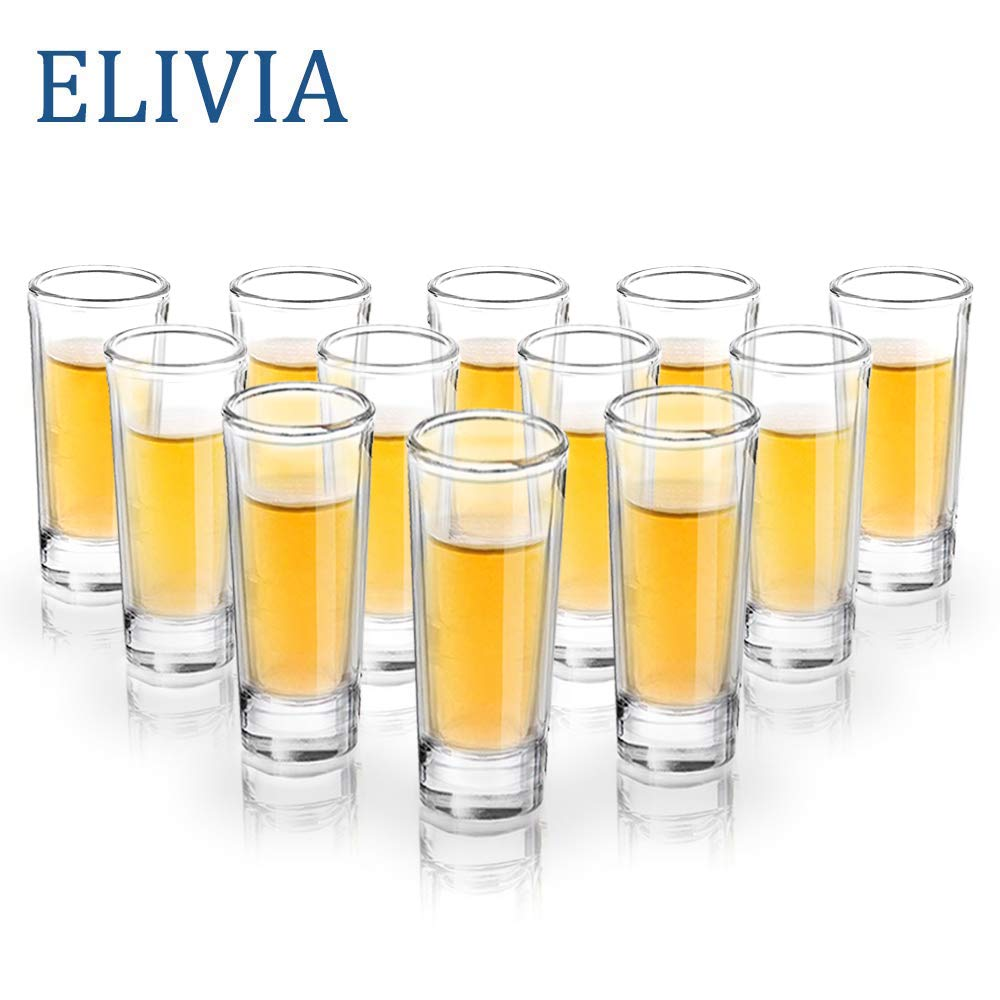 ELIVIA Shot Glass Set with Heavy Base, 2 oz Clear Glasses for Whiskey, Liqueurs and Dessert (12 pack)
