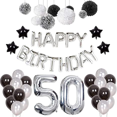 Amazon.com: Puchod 50th Birthday Decorations Party Decor Set ...