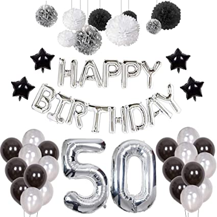 Amazon Puchod 50 Birthday Decorations For Men Happy Balloons Party Supplies Set Foil Latex Banner Black White Silver Paper Pom Poms