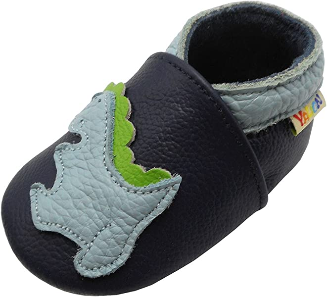 9337b56df70 Yalion Baby Cartoon Dinosaur Soft Leather Shoes Little Boys Girls Walking  Flexible Moccasins (Navy Blue