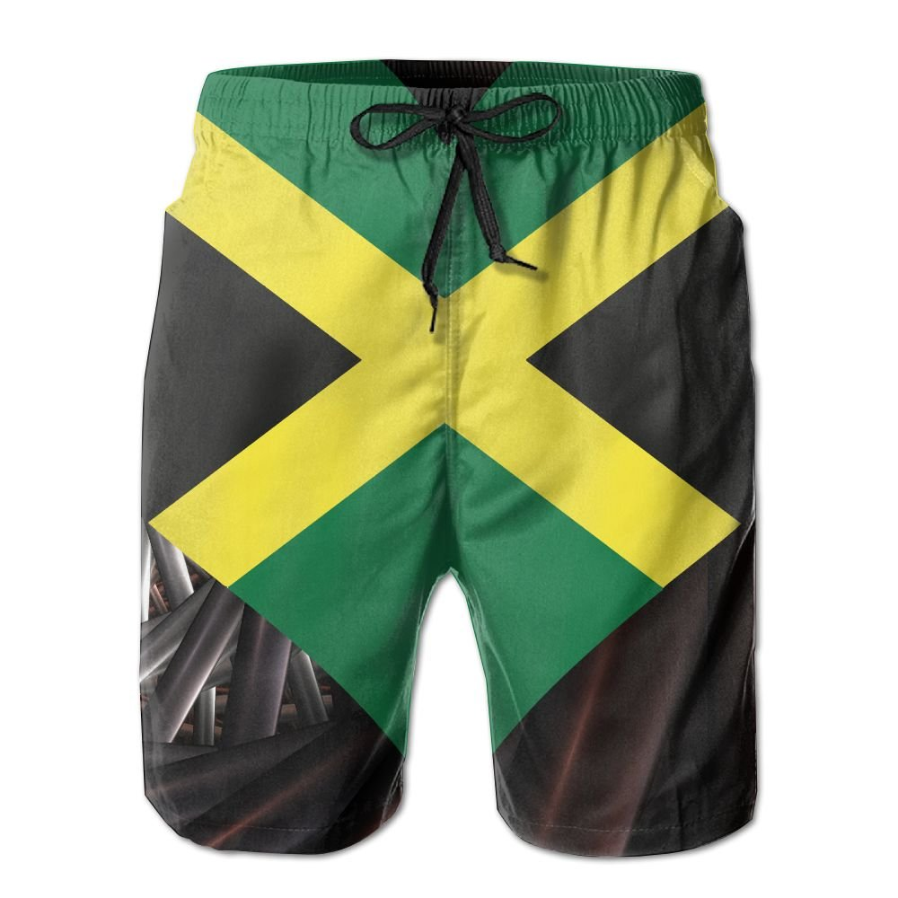 Jamaica Flag Heart Love Men's Basic Board Shorts L With Pocket
