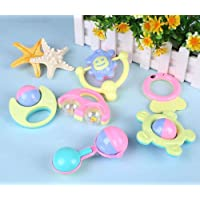 GoMerryKids Baby Rattles Set , Teether, Shaker, Grab and Spin Rattle, Musical Toy , Early Educational Toys (5 Pieces)