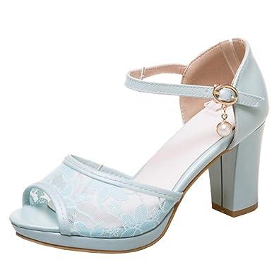 Agodor Damen Blockabsatz Slingbacks Sandalen mit Spitze und Schnalle Elegant Offen Schuhe yWLAfNQQEj