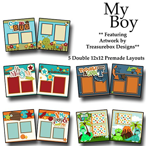 MY BOY Scrapbook Set - 5 Double Page Layouts