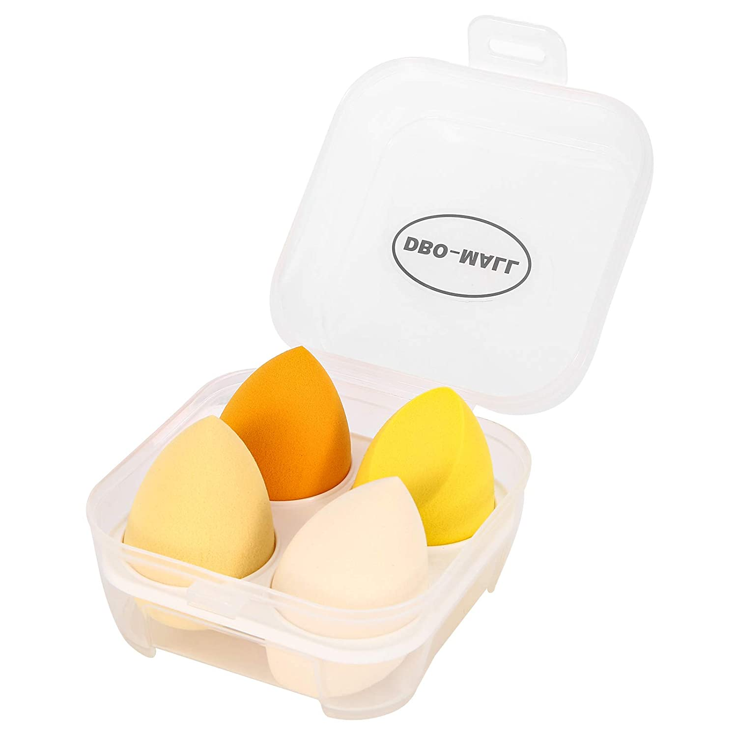 DBO-MALL Beauty Blender Puffs Sponges,3D Beauty Egg (4pcs,Yellow) With Box- For Powder,Cream Or Liquid.