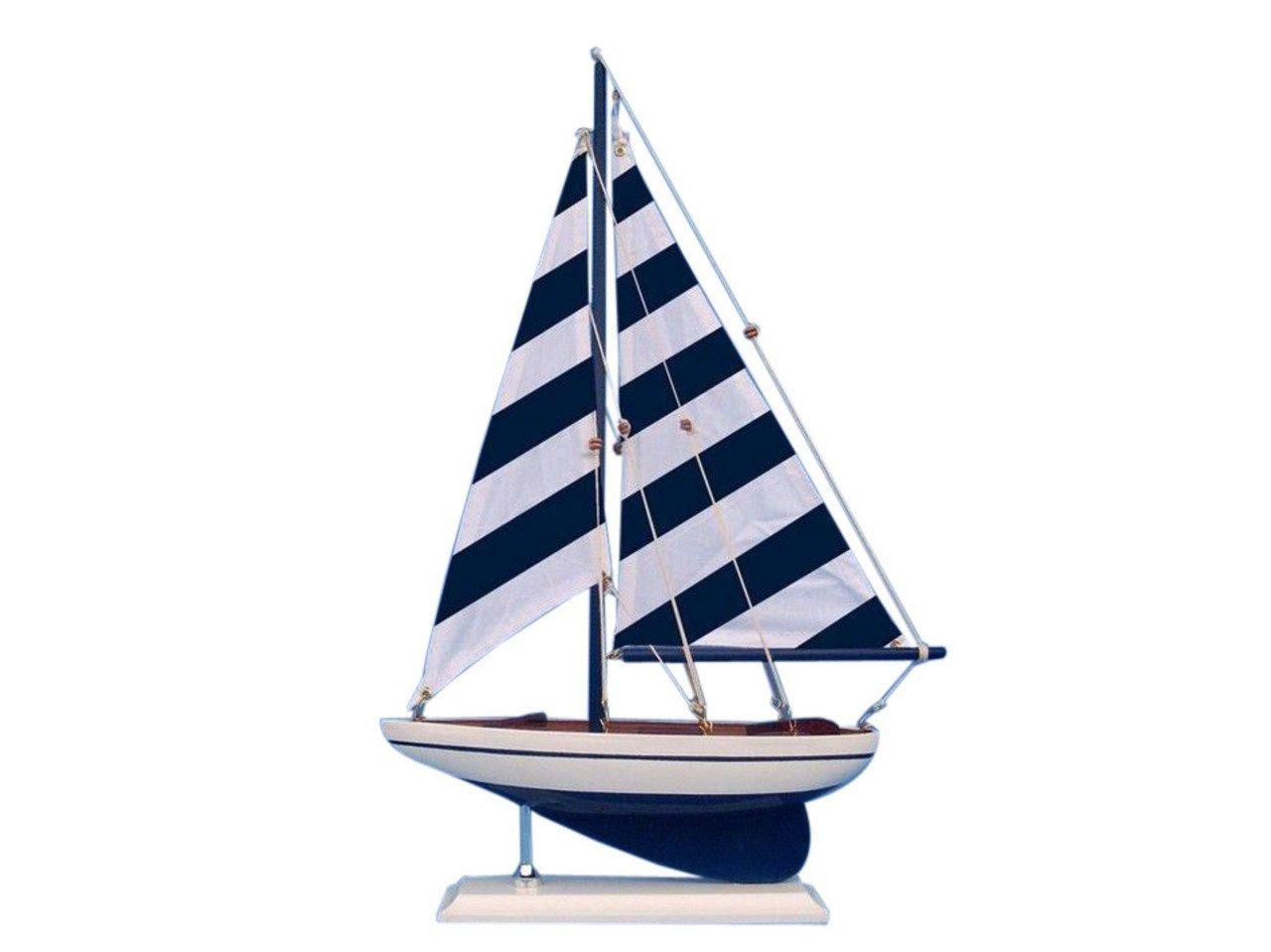 Hampton Nautical Wooden Blue Striped Pacific Sailer Model Sailboat Decoration, 17''