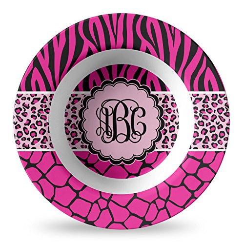 Triple Animal Print Plastic Bowl - Microwave Safe - Composite Polymer (Personalized) by RNK Shops