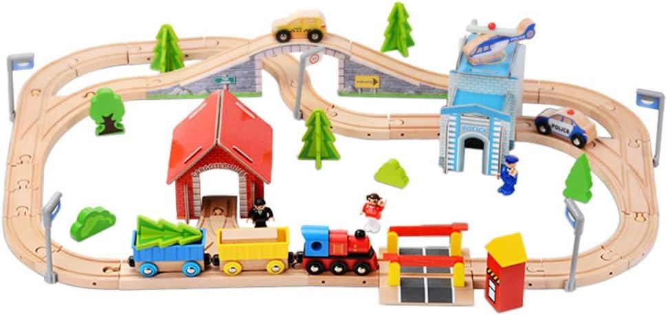 64 PCS Wooden Train Track Lot Set Wood Railroad Bridge Brio Thomas Accessories