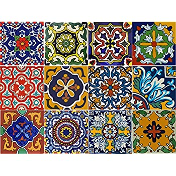Amazon Com Bleucoin Mexican Tile Stickers 12 Designs