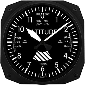 "Trintec 3060-10-C 10"" Altimeter Aviation Classic Instrument Style Wall Clock"