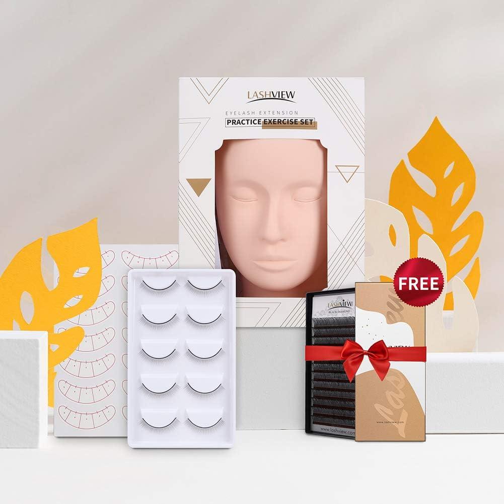 LASHVIEW Eyelash Mannequin Head,Eyelashes Extension Practice kit,with Eyelash Extensions,Training Lashes,Head Mannequin