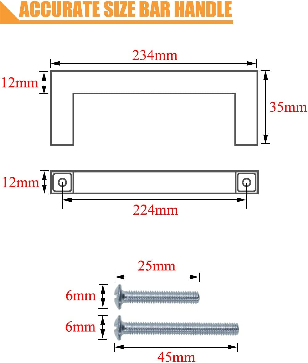 PinLin 10 Pack Kitchen Cabinet Door Handles Stainless Steel Bedroom Drawer Cup Board Pulls Hole Centre 256mm Width 12mm Brushed Steel Square T Bar Handle