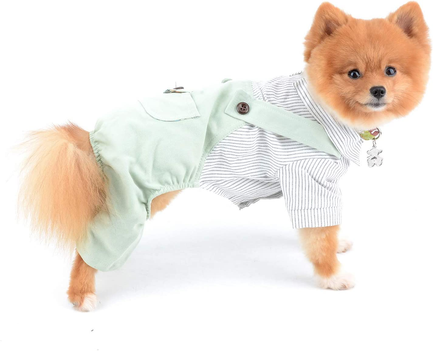 SELMAI Dog Outfits for Small Dogs Boy Summer Striped Shirts with Pants Jumpsuits One Piece Apparel for Cats Puppies Chihuahua Clothes Adorable Overalls for Medium Pets 4 Legs Spring Autumn