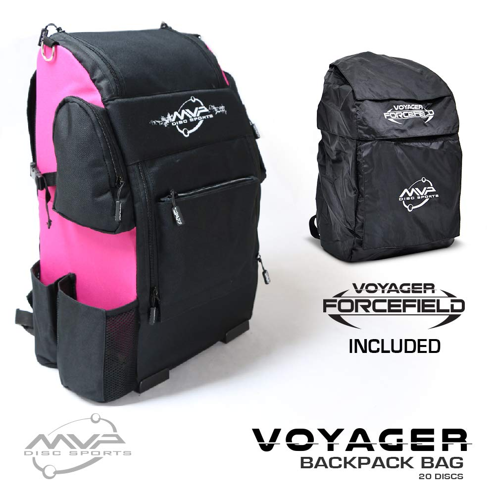MVP Disc Sports Voyager Backpack Disc Golf Bag with Forcefield Rainfly - Pink
