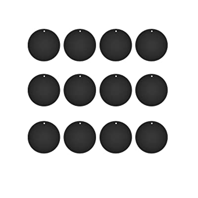 Mount Metal Plate(12Pack) for Magnetic Car Mount Phone Holder with Full Adhesive for Phone Magnet, Magnetic Mount, Car Mount Magnet-12X Round (Black)