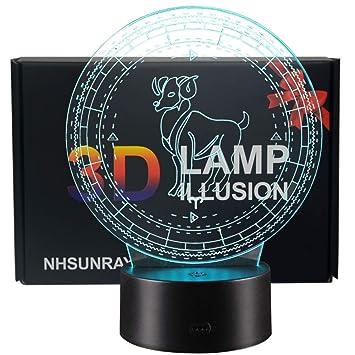 Amazon.com: 3d ilusión lámpara 12 Constelaciones Noche LED ...
