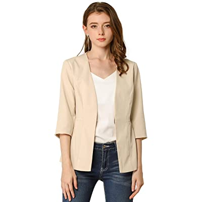 Allegra K Women's Casual Blazer Solid Ruched Collarless Office Work Jacket at Amazon Women's Clothing store
