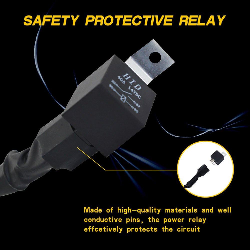 Alftek Kit de rel/é para Interruptor de Cables para conectar el Trabajo y la Conducci/ón Barra de luz LED Foco de Coche