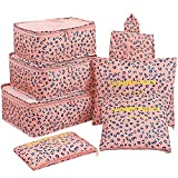 Luggage Cubes,Mossio 7 Pack Lightweight Toiletry Organizer Space Saver Travel Accessories Pink Leopard