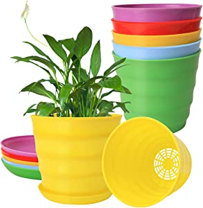 1 Gallon 7.5'' Plastic Garden Planting Pots with Drainage Holes and Saucers, 5 Planter Nursery Pots with Trays for Indoor Outdoor Plants, 5PCS 7 1/2 Inch Flower Pots with 5 Pallets